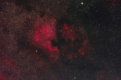 North America and Pelican Nebula. The North America Nebula and the Pelican Nebula in the constellation Cygnus photographed from Mannheim in Germany stock image