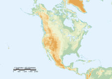 North America physical. Physical map of North America with scale. Elements of this image furnished by NASA Stock Photography