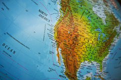 North America physical map. Physical map of North America and Mexico. Focus on Midwest and West Coast of U.S.A royalty free stock photography
