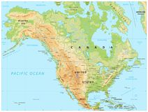 North America Physical Map. Vector illustration Royalty Free Stock Photo