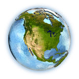 North America. Planet Earth with embossed continents and country borders. North America. Isolated on white background. Elements of this image furnished by NASA Royalty Free Stock Photography