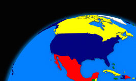 North America on planet Earth political map Royalty Free Stock Photos