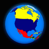 North America on political Earth Royalty Free Stock Photos