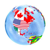 North America on political globe with flags isolated on white Royalty Free Stock Photo
