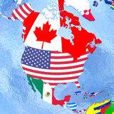 North America on political globe with flags Royalty Free Stock Images