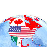 North America on political globe with flags Royalty Free Stock Photos