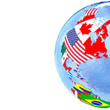 North America on political globe with flags Royalty Free Stock Image