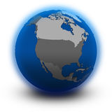 North America on political globe Royalty Free Stock Photo