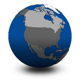 North America on political globe illustration Royalty Free Stock Image