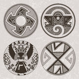 North America Pueblo Indians graphic art. Tattoo and print set. Stock Photography
