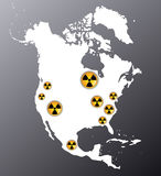 North America with the signs of radiation Stock Photo