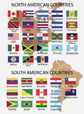 North America and South American Countries Flags vector illustration
