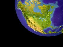 North America from space on Earth. With country borders. Very detailed plastic planet surface and blue oceans with ripples and waves. 3D illustration. Elements stock photos