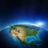 North America. From space. Elements of this image furnished by NASA Royalty Free Stock Photos