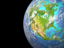 North America from space. North America on extremely high detailed beautifully textured 3D model of Earth. 3D illustration. Elements of this image furnished by stock photo