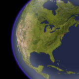 North America from space, shaded relief map. Royalty Free Stock Image