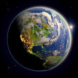 North America from space at twilight Royalty Free Stock Images