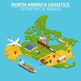 North America transportation and logistics. Delivery and shipping infographic elements. Vector Illustration Royalty Free Stock Photo