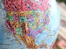 North America USA focus macro shot on globe map for travel blogs, social media, website banners and backgrounds. royalty free stock image