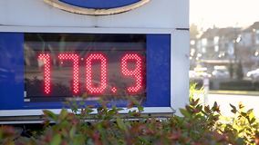 North American all time high gas prices hit the Vancouver area as seen on this gas station display. stock footage