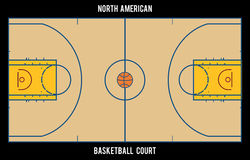 North American basketball court.Top view illustration. royalty free illustration
