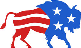 North American Bison USA Flag Retro Stock Images