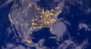 North America lights during night as it looks like from space. Elements of this image are furnished by NASA royalty free stock photos