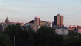 A North American City at dusk stock footage