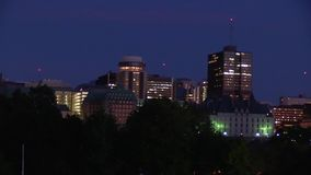 A North American City at dusk stock video footage