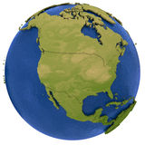 North American continent on Earth. North America on detailed model of planet Earth with visible country borders on green land and waves on the ocean waters Stock Photo