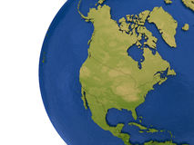 North American continent on Earth. North America on detailed model of planet Earth with visible country borders on green land and waves on the ocean waters Stock Photos