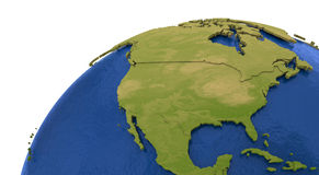 North American continent on Earth. North America on detailed model of planet Earth with visible country borders on green land and waves on the ocean waters Royalty Free Stock Image