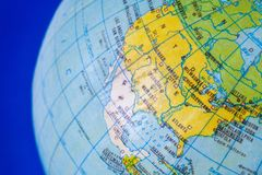 North American continent on the political map of the globe. Close up Royalty Free Stock Photography