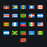 North American Country Flags Royalty Free Stock Photo