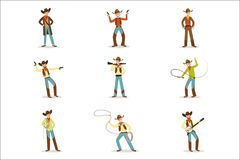 North American Cowboy With Different Accessories Set Of Cartoon Characters, Modern Western Cattle Hurdlers In stock illustration