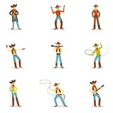 North American Cowboy With Different Accessories Set Of Cartoon Characters, Modern Western Cattle Hurdlers In Stock Image
