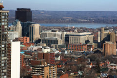 North-american Downtown in cold  sunny day. Urban landscape of downtown Hamilton Ontario Stock Image