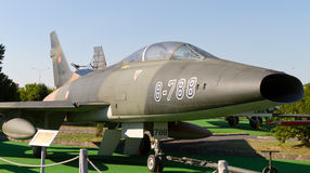 North American F-100C Super Sabre. In Istanbul Aviation Museum on September 22, 2012 in Istanbul, Turkey. F-100 introduced in 1954, built 2,294 piece until 1959 Royalty Free Stock Photography