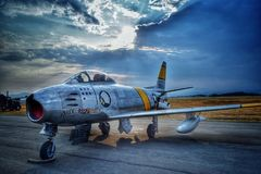North American F86 Sabre fighter jet stock photos
