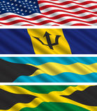 North American Flags in the Wind. These flags of the USA, Jamaica, Barbados, and the Bahamas would make an excellent backdrop, background or banner vector illustration