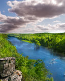 North American Forest and River. Overview of mountain fork river from a cliff in Ouachita national forest, Oklahoma. In McCurtain county south of Broken Bow lake royalty free stock photos