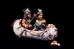 North American Indian Canoe Statue Stock Images