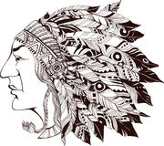 North American Indian chief -  illustration Royalty Free Stock Image