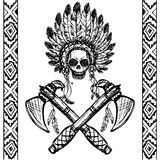 North American Indian chief with tomahawk, hand drawn vector Royalty Free Stock Photos