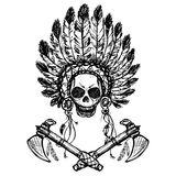 North American Indian chief with tomahawk, hand drawn vector Stock Photo