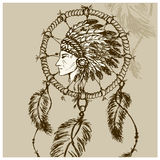 North American Indian with Dreamcatcher. Hand drawn vector vector illustration