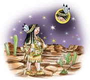 North american indian girl watching moon. Illustration of north american indian girl watching moon Royalty Free Stock Images