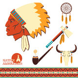 North american indian man portrait and traditional objects Royalty Free Stock Photos