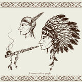 North American Indian with peace pipe Stock Image