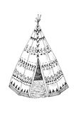 North American Indian tipi with tribal ornament Stock Photography